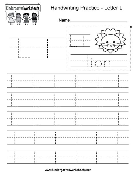 letter l writing practice worksheet free kindergarten 368 | letter l writing practice worksheet printable