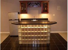 Glass block bar like a short glass wall with different