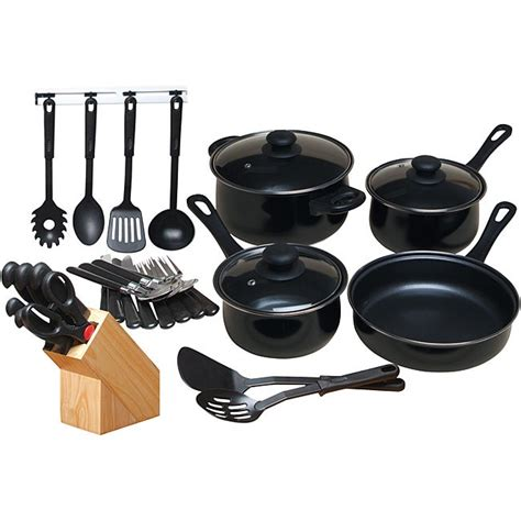shop gibson chef du jour black cookware combo set  shipping today overstock