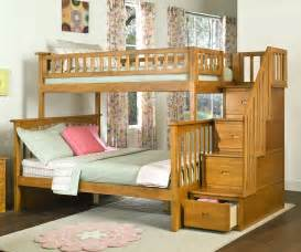 Two Floor Bed Columbia Staircase Bunk Bed Caramel Latte Bedroom Furniture Beds Atlantic