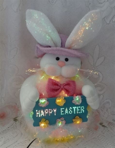 nativity bunny led fibre optic vintage fiber optic easter bunny rabbit lighted indoor decoration original box ebay