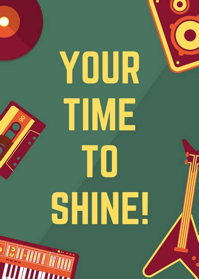 retro musical instruments talent show flyer templates