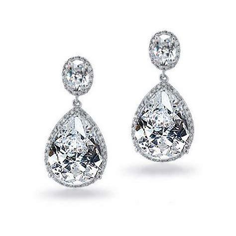 Silver Tone Vintage Pear Oval CZ Bridal Earrings