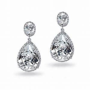silver tone vintage pear oval cz bridal earrings With wedding ring earrings