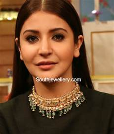 antique fans anushka sharma in a polki emeralds choker jewellery designs