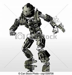 Stock Illustration of robot soldier - 3d render of robot ...