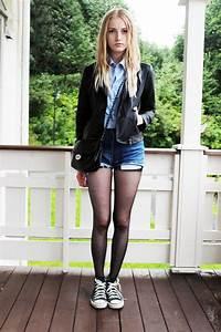 Marie-Elu00e9n W. - Forever 21 Leather Jacket Dads Shirt Leviu0026#39;su00ae 501 Cutoffs Converse Black ...