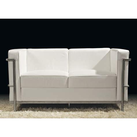 canap 233 2 places cuir blanc inox moderne design corbs univers du salon