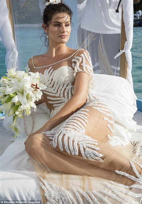isabeli fontana wears a completely see through gown for beachside wedding daily mail