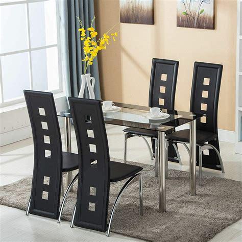 modern 5 dining table set tempered glass transparent