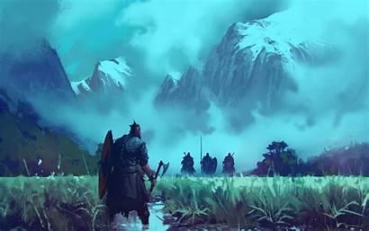 Alone Viking Warrior Fighting Resolution Fantasy Wallpapers