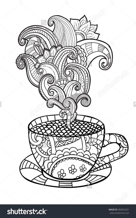 Fries coloring pages 27 coloring. Coffee Or Tea Cup Zentangle Style Coloring Page 384922021 : Shutterstock | Coloring pages, Adult ...