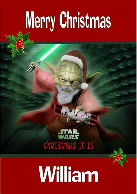 Make yourself or your loved ones happy with holiday cards. Personalised Star Wars Yoda Christmas Card