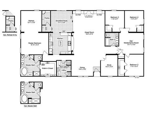 house with floor plan the evolution vr41764c manufactured home floor plan or