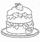Coloring Strawberry Cake Layer sketch template