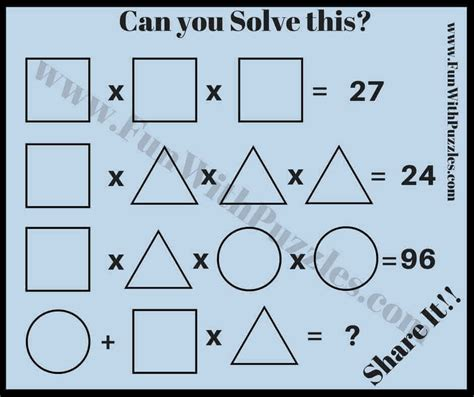 math brain teasers for with answers and explanations