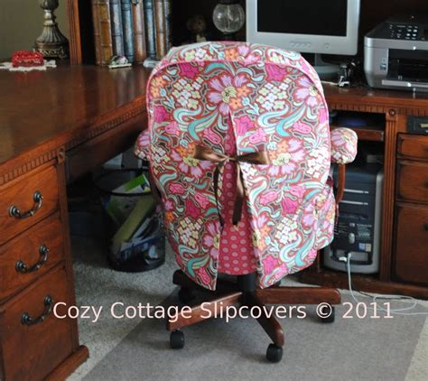 office chair slipcover cozy cottage slipcovers disco flower office chair
