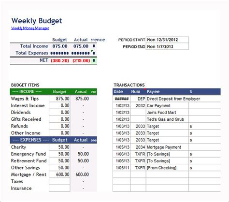 examples  bi weekly budget templates word pages