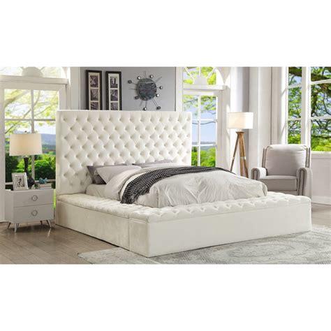 meridian furniture bliss white velvet queen bed  boxes