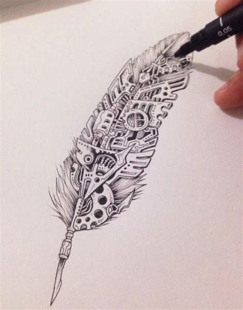 graphic design feather tattoo  steampunk