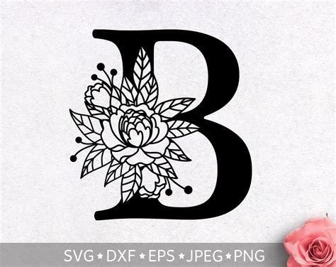 floral alphabet letter  svg flower monogram clip art etsy