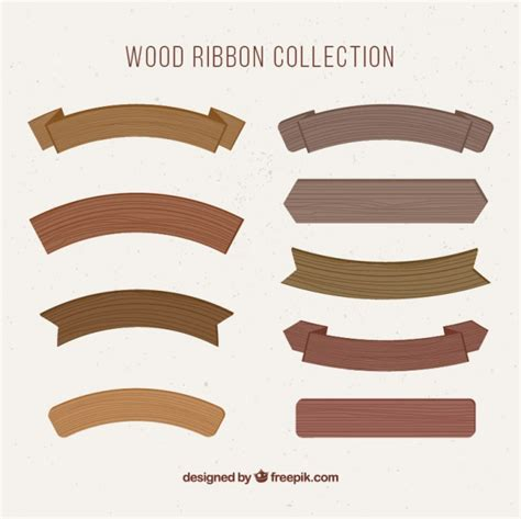 wooden ribbons vector