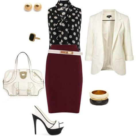 Black White and Burgundy Outfit