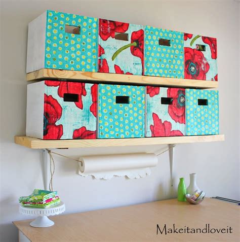 craft room part  covered cardboard storage boxes