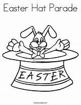 Easter Hat Parade Coloring Bunny Outline Twistynoodle Cursive Built California Usa Noodle sketch template