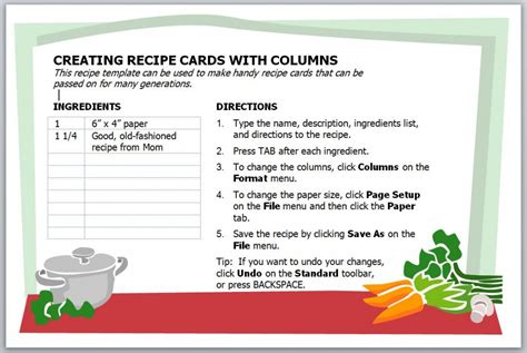 recipe card template recipe card template  word