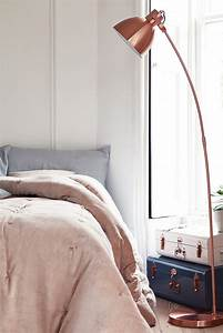 Home decor explosive mix copper floor lamps and pink details for Pink floor reading lamp