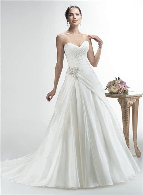 simple a line strapless sweetheart organza draped wedding - Draped Wedding Dresses