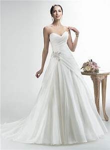 simple a line strapless sweetheart organza draped wedding With draped wedding dress
