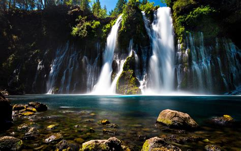 Burney Falls Northern California Turquoise Blue Water Rock