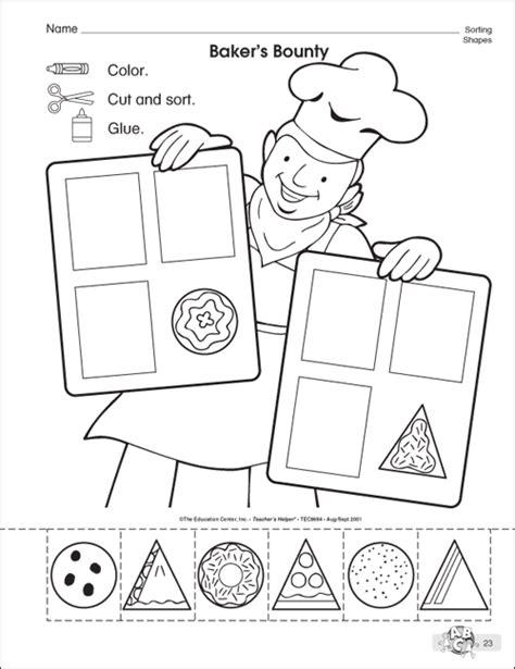 Sorting Shapes By Attributes Worksheets For Kindergarten  Kindergarten Math Sorting By Color