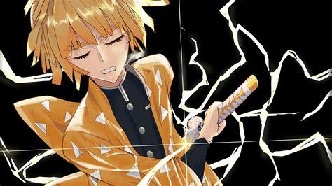 Zenitsu thunder breathing demon slayer live wallpaper. Demon Slayer Zenitsu Agatsuma Having Sword With Black Background 4K HD Anime Wallpapers | HD ...