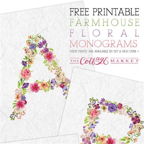 printable floral monograms  cottage market