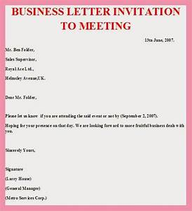 meeting invite email template - sample business letter invitation to a meeting sample