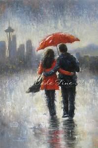 Seattle Lovers in the Rain Art Print Seattle paintings rain