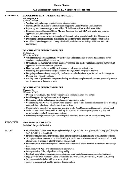 quantitative finance manager resume samples velvet jobs