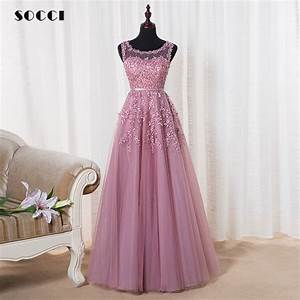 pink appliques lace tulle long evening dresses 2016 formal With formal long dresses for weddings