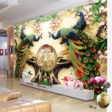 custom wall mural wallpaper woven peacock living room tv bac