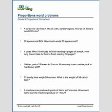 Grade 6 Math Worksheet Proportions Word Problems  K5 Learning