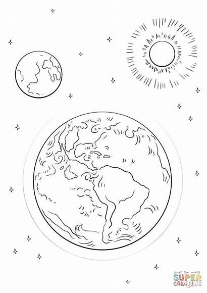 Moon Coloring Earth Sun Solar Eclipse Luna