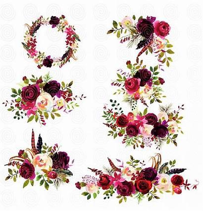 Marsala Flores Floral Casamento Florais Aquarela Imagens