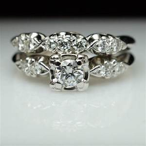 vintage art deco diamond bridal set engagement ring With art deco wedding ring set