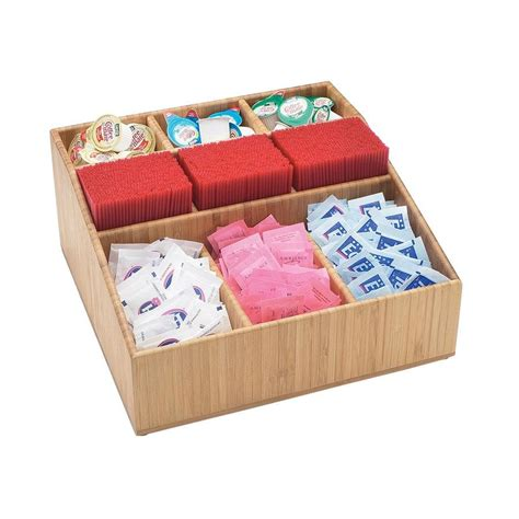 "Interdesign stacking organizer bins, medium: Cal-Mil 1714-60 Bamboo Coffee Condiment Organizer - 12"" x 12"" x 5 1/2"""