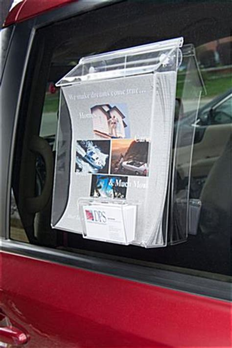 car brochure holder dual pocket  window suction cups