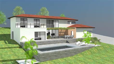 maison contemporaine sur terrain en pente tendance