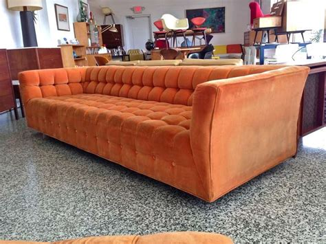 Oversized Tufted Ottoman by Orange Button Tufted Sofa With Oversized Ottoman At 1stdibs